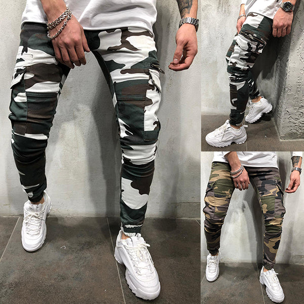 Street Style Camouflage Pocket Slim Pants