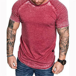 Fashion Solid Color Wrinkle Casual Short Sleeves T-Shirt