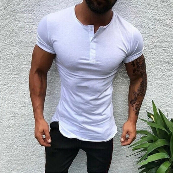 Casual Slim Solid Color Short Sleeve Men's T-Shirt