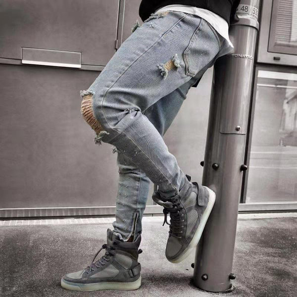 Fashion Sports Pure Color Ripped Jeans