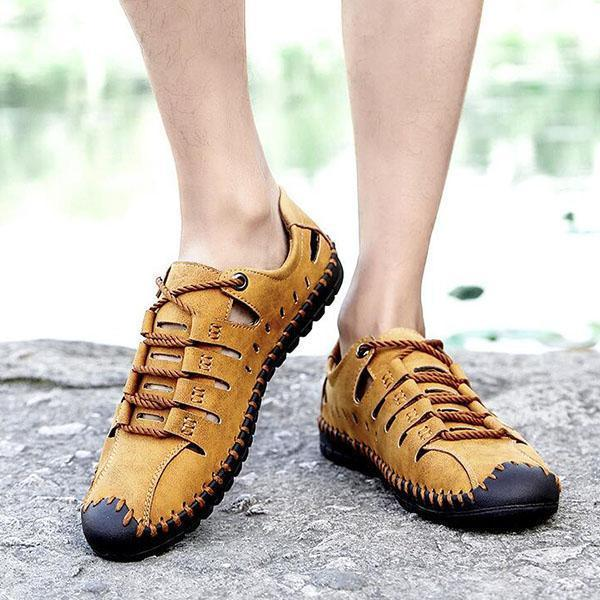 Men's Spring And Summer First Layer Leather Non-Slip Breathable Casual Shoes Hollow Sandals