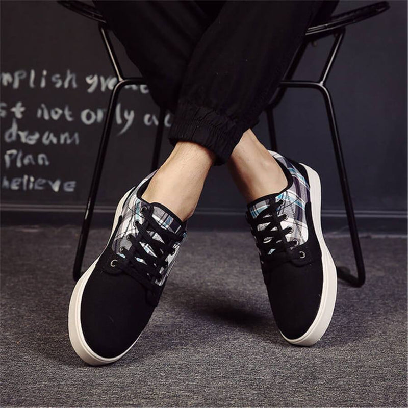 Men's Fashion Wild Plaid Canvas   Casual Shoes