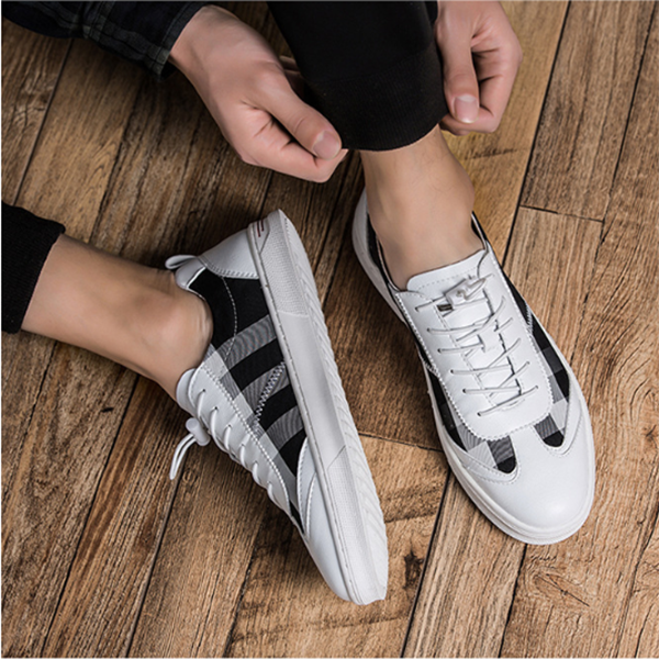 2019 New Men's Fashion Trend Plaid Casual Shoes