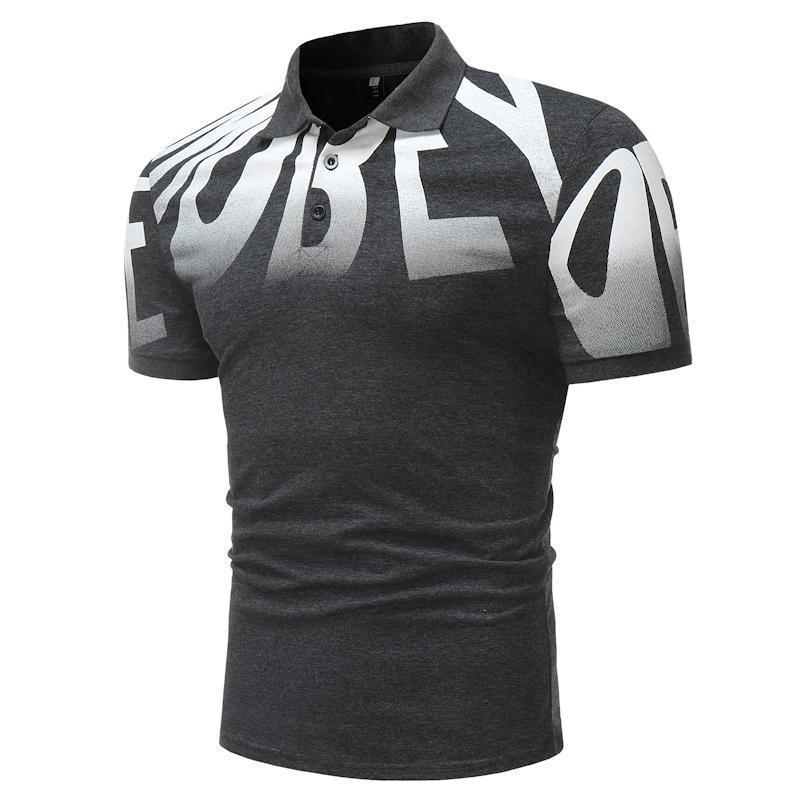 Men's Alphabet Printed Turn-Collar Fashion Shirts