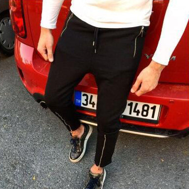 Men's Jogging Pants Slim Casual Foot Zipper Trousers