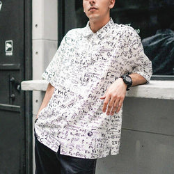 Men's Vintage Letter Print Loose Shirt