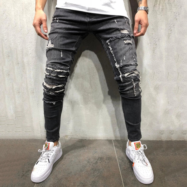 Fashion Broken Hole Slim Fit Washed Jeans