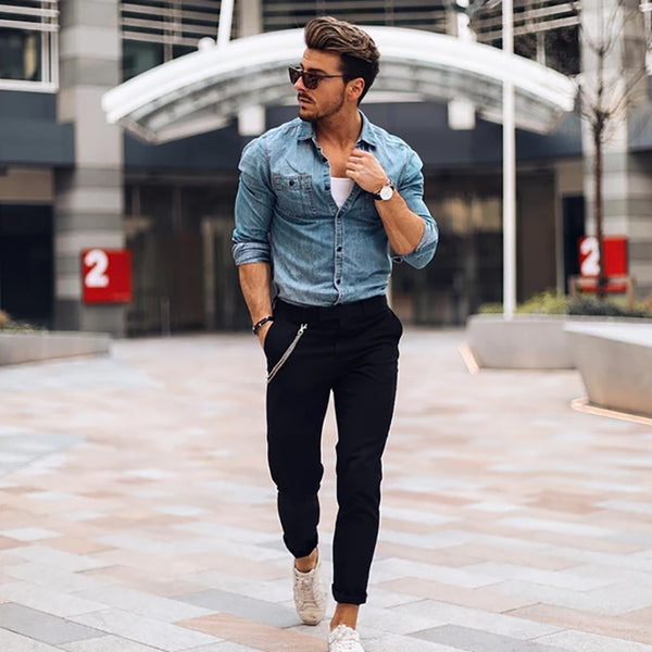 Men's Fashion Pocket Denim Shirt