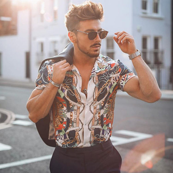 Fashion Printed Turndown Collar Short Sleeve Shirt