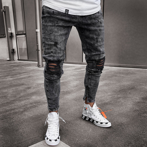 Street Fashion Broken Hole Slim Fit Jeans