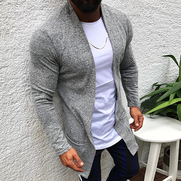 Casual Simple Pure Colour Mid-Length Cardigan Sweater