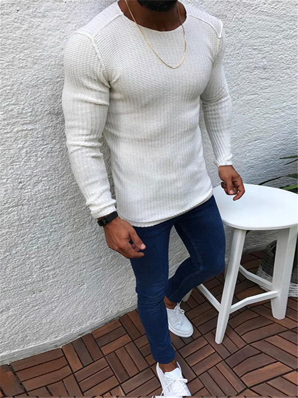 Fashion Solid Color Stitching Long Sleeve Round Neck Sweaters