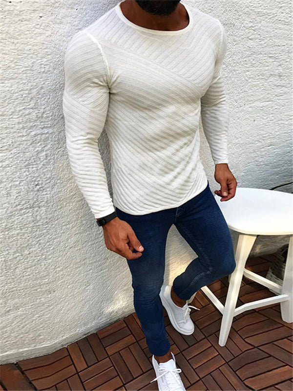 Fashion Round Neck Long Sleeve Striped Jacquard Sweaters