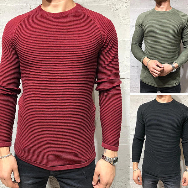 Casual Slim Fit Wavy Round Neck Sweater