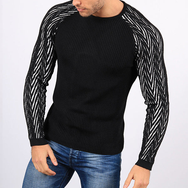 Fashion Raglan Sleeve Round Neck Slim Fit Sweater