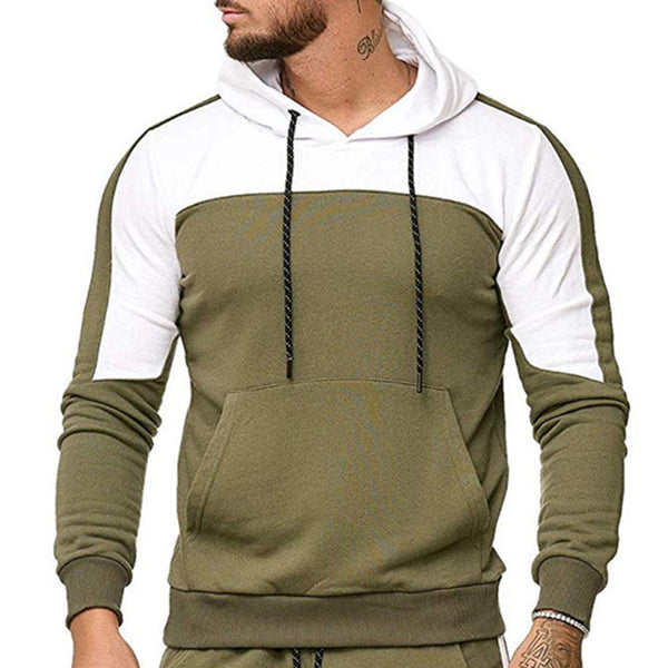 Casual Sports Contrast Color Hooded Sweatshirt