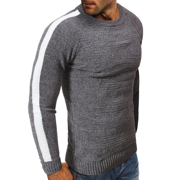 Fashion Collar Colour-Coloured Spliced Sweaters