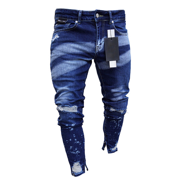 Men's Paint Zipper Hole Denim Pants