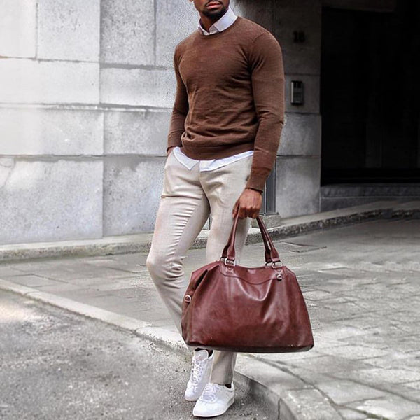 Casual Simple Slim Fit Pure Colour Sweater