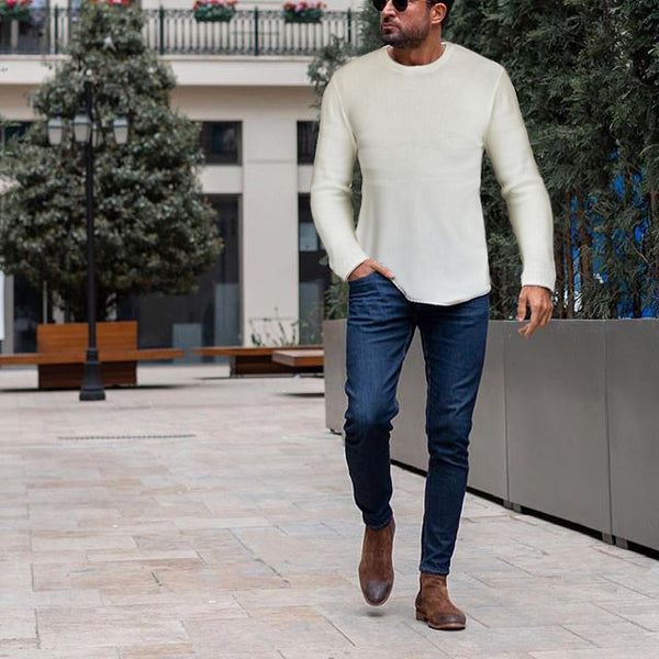 Casual Round Neck Long Sleeve Sweater