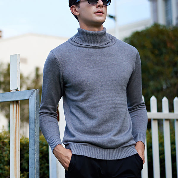Fashion Slim Fit Pure Colour High Collar Sweater