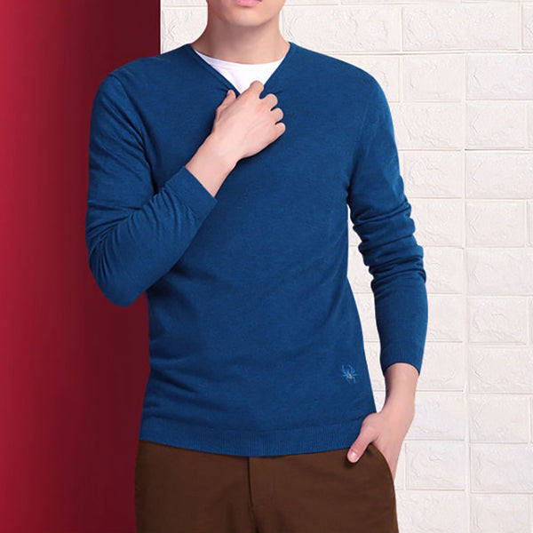 Fashion Pure Colour V Neck Slim Fit Sweater