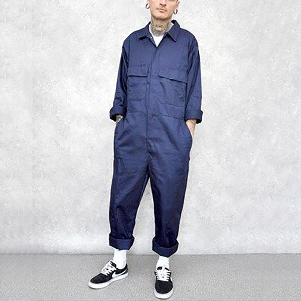 Casual Men's Pure-Color Lapel Long-Sleeved Jumpsuit