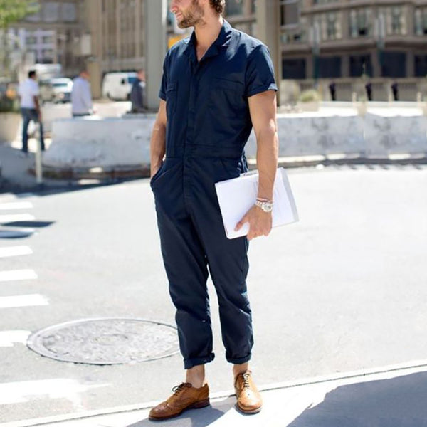 Men's Pure-Color Lapel Short-Sleeved Casual Jumpsuit