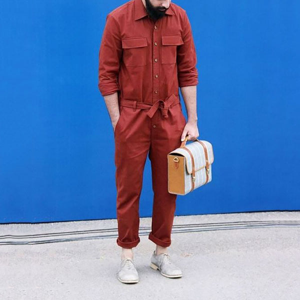 Men's Pure Color Lapel Single Row Buckle Jumpsuit