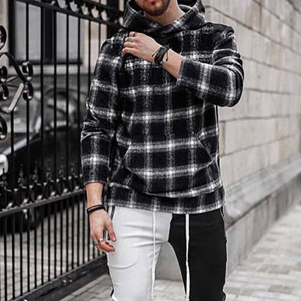 Fashion Loose Plaid Hooded Sweatshirt