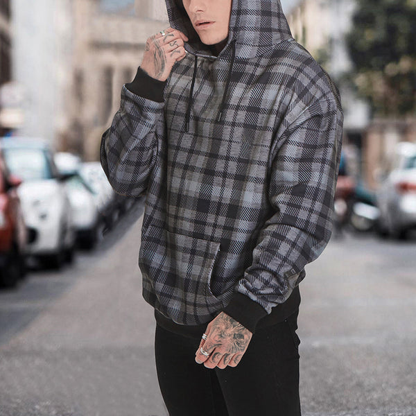 Fashion Classic Check Hooded Pullover Sweatshirt