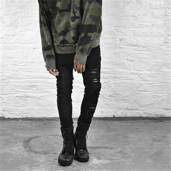 Men's Ripped Denim Black Skinny Jeans