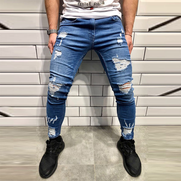 Street Wind Zipper Hole Denim Pants
