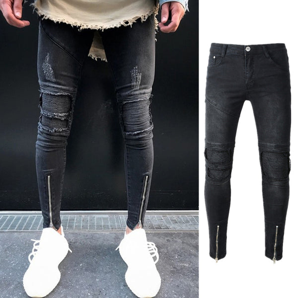 Men's Fashion Hole Patch Zipper Decoration Denim Skinny Jeans