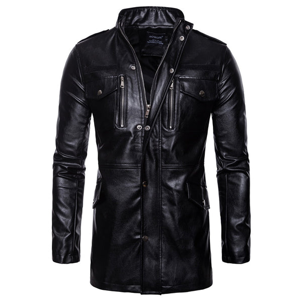 Fashion Long Section Collar Four Pocket Motorcycle Jacket