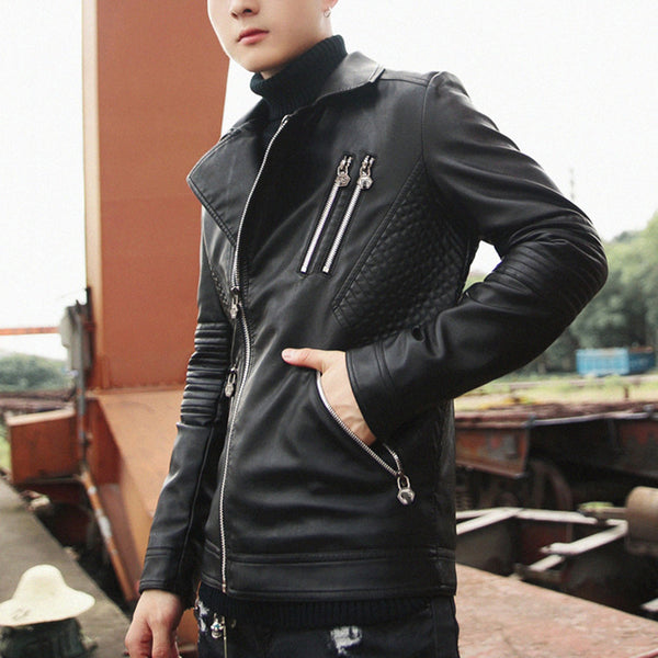 Fashion Slim And Handsome Trend Youth Motorcycle Leather Jacket
