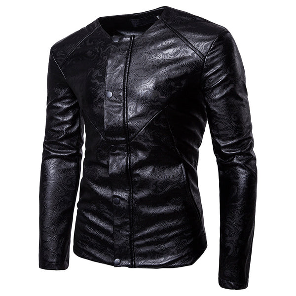 3D Embossed Round Neck Locomotive Motorcycle PU Leather Jacket
