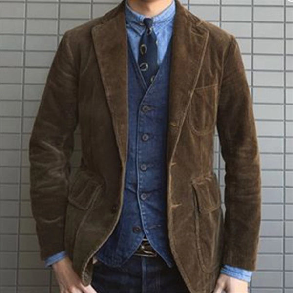 Men's Lapel Solid Color Corduroy Jacket