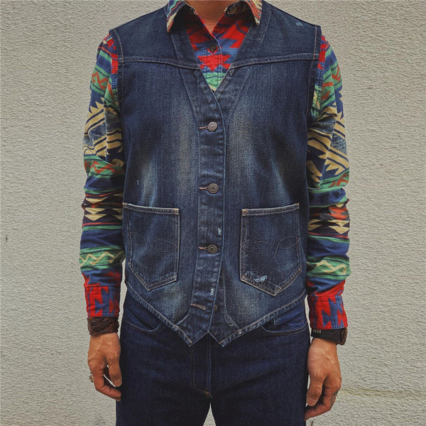 Men's Solid Color Denim Vest