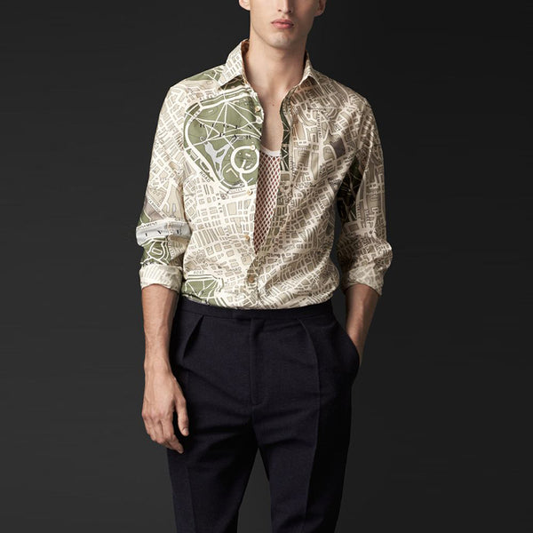 Literary Creative Geometric Printed Lapel Shirt
