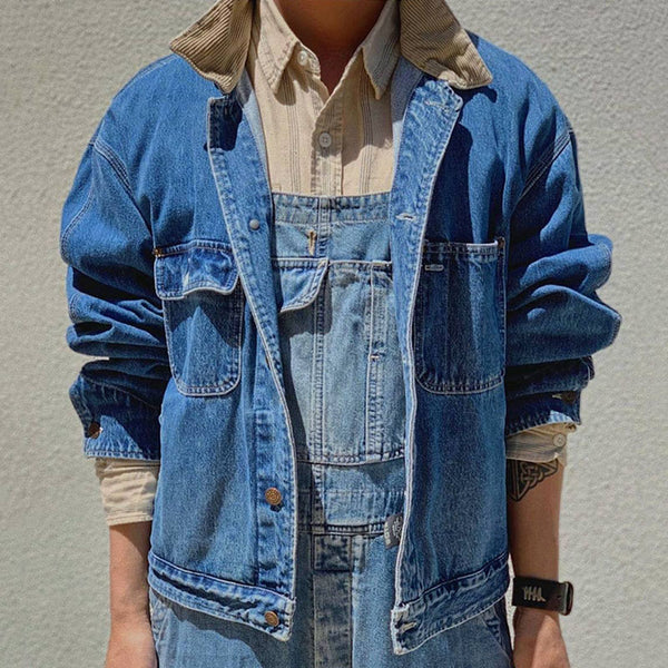 Fashion Single-Breasted Turndown Collar Denim Jacket