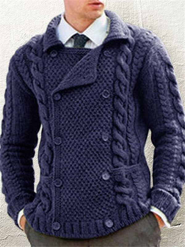 Casual Suit Collar Double-Breasted Knit Twist Outerwear