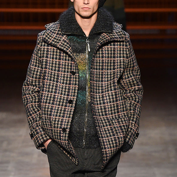 Fashion Single-Breasted Plaid Lapel Coat