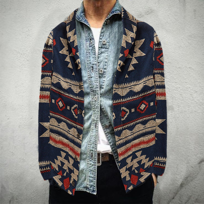 Men's Vintage Printed Color Turndown Collar Long Sleeve Top