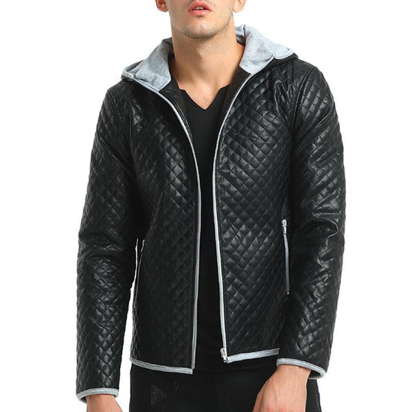 Men's fashion hit color hooded casual leather tide plaid thick coat