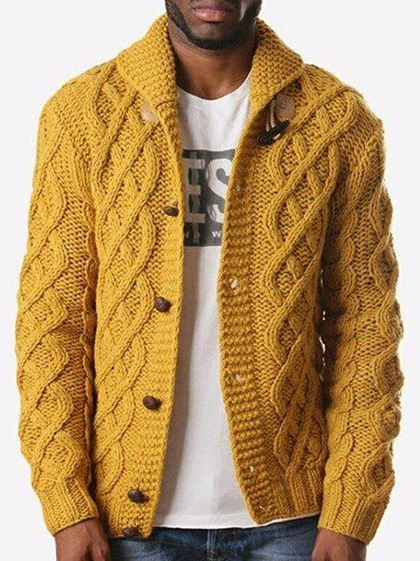 Fashion Twist Lapel Buckle Knitted Coat