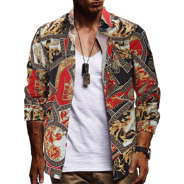 Men\s Casual Turndown Collar Floral Printed Colour Long Sleeve Blouse