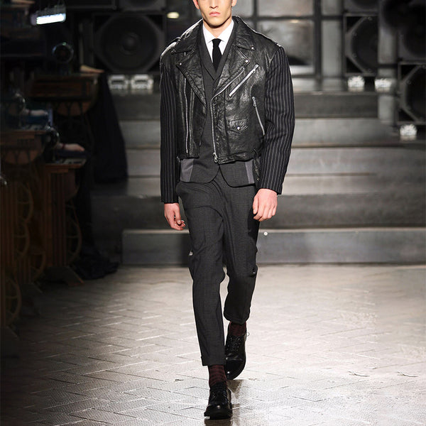 Fashion Handsome Turndown Collar Leather Jacket