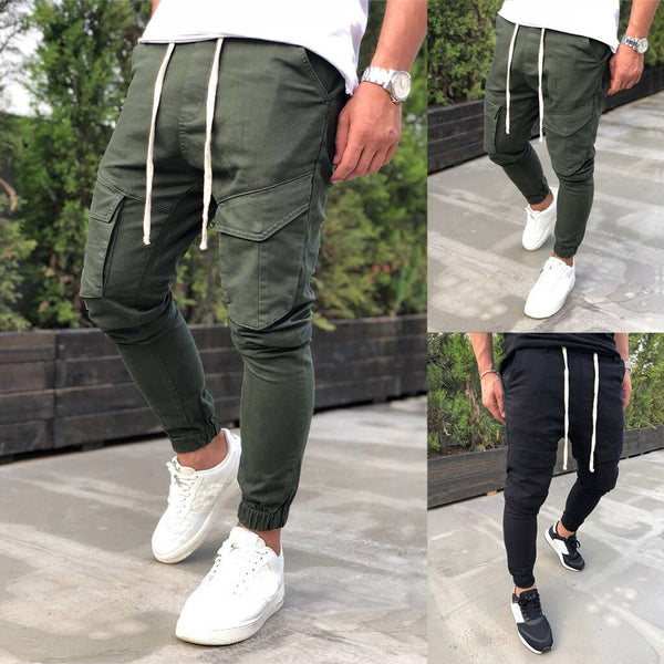 Leisure Style Men's Pure Color Leisure Sports Multi-Pocket Middle Waist Pants