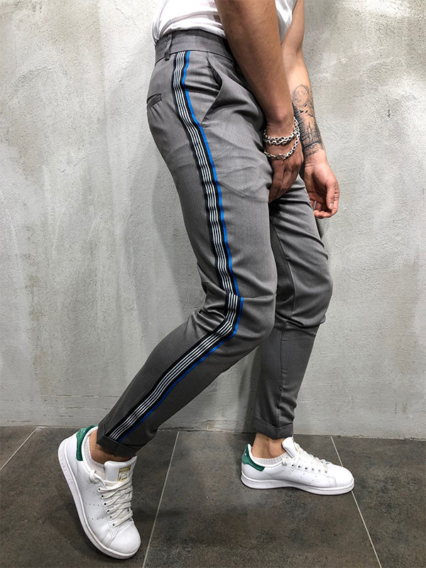 Gentleman Fashion Colorblock Slim-Fit Pants